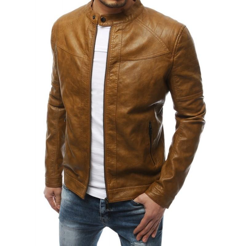 Kožená pánská bunda hnědé barvy