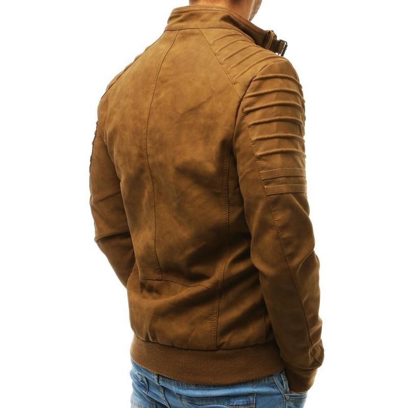 Hnědá kožená bunda s odepínací kapucí pro pány