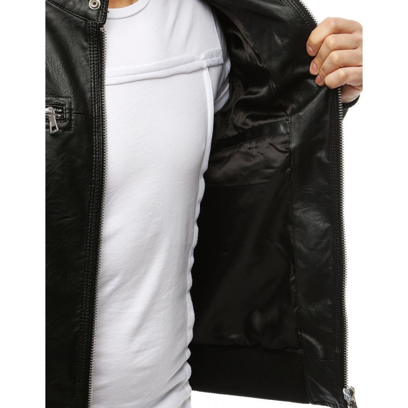 Pánská kožená bunda na jaro v černé barvě
