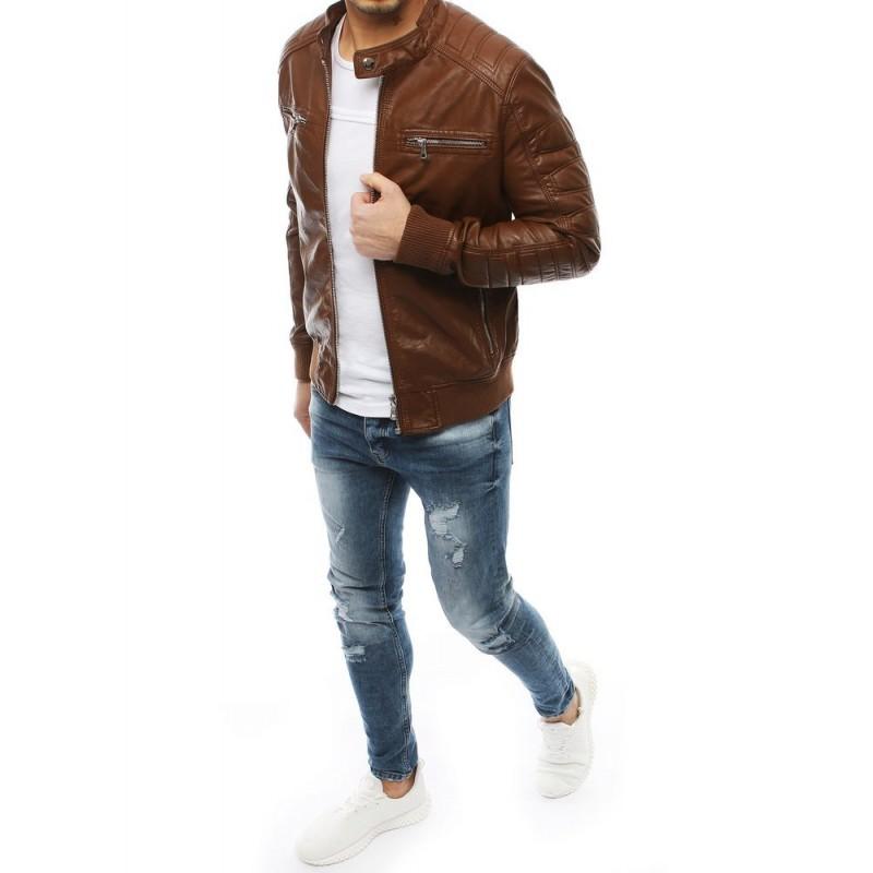 Hnědá kožená bunda na jaro pro pány