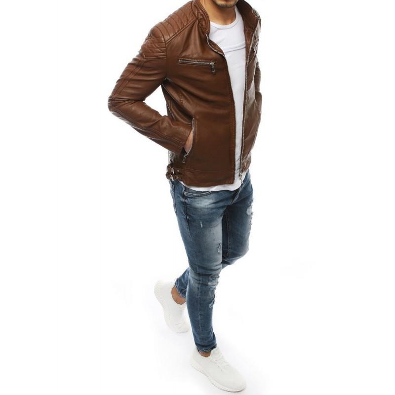 Pánská kožená bunda na přechodné období v hnědé barvě