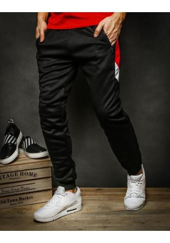 Pánské módní tepláky s kontrastními vložkami v černé barvě