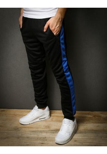Černé módní tepláky s modrým pásem pro pány