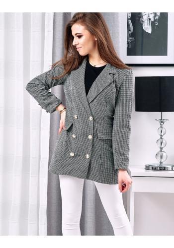 Dámské elegantní sako se vzorem v černo-bílé barvě