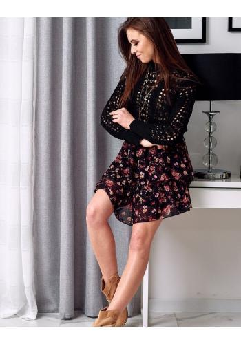 Azurový dámský svetr černé barvy na jaro