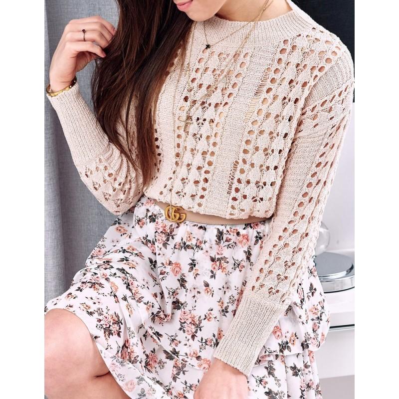 Dámský azurový svetr na jaro v béžové barvě