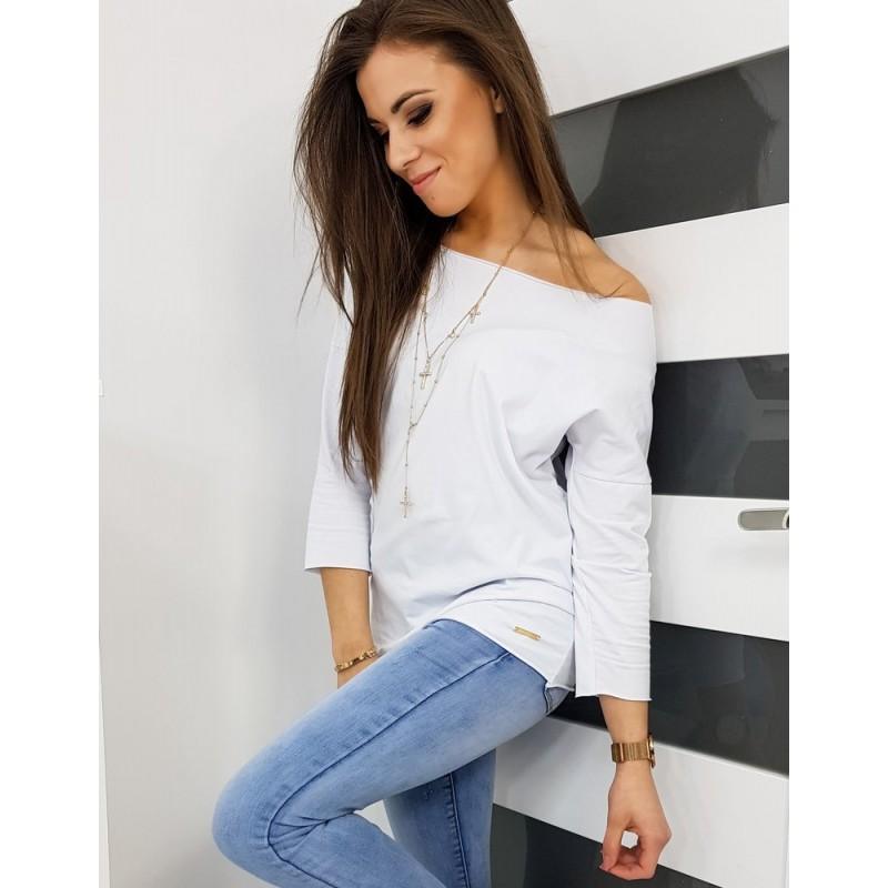 Dámské klasické tričko s dlouhým rukávem v bílé barvě