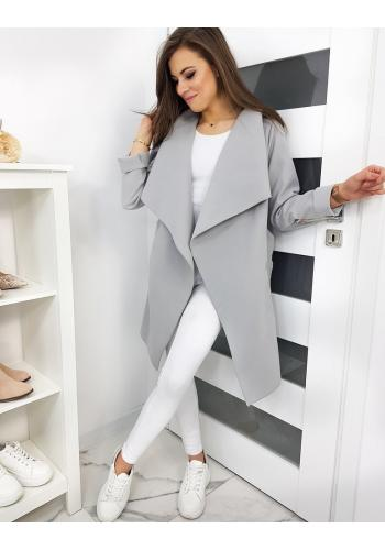 Světle šedý jarní kabát s vázáním v pase pro dámy