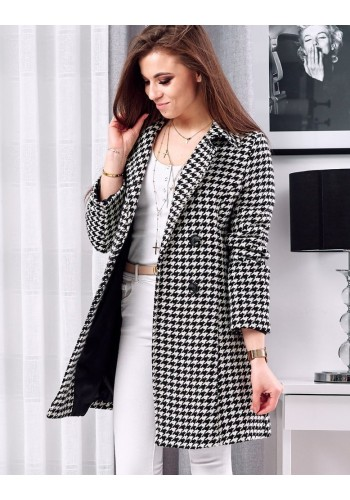 Dámský dvouřadý kabát se vzorem v černo-bílé barvě