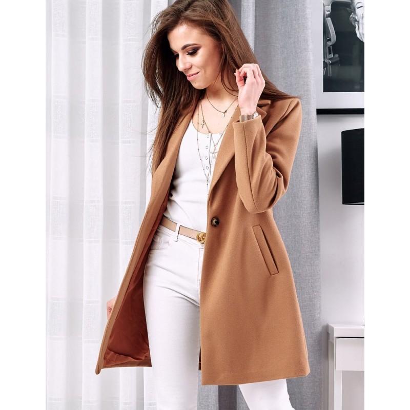 Klasický dámský kabát hnědé barvy s jedním knoflíkem