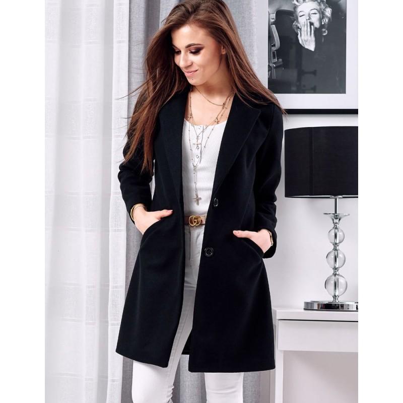 Černý jednořadý kabát pro dámy