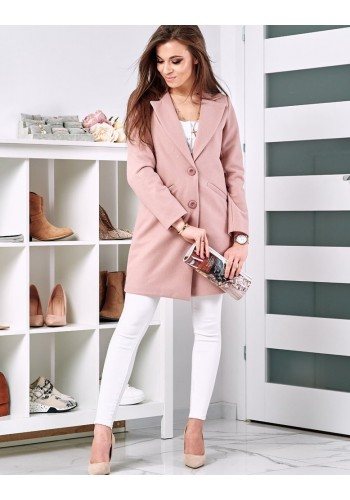 Dámský klasický kabát na jaro v růžové barvě