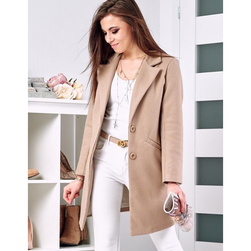 Klasický dámský kabát béžové barvy na jaro