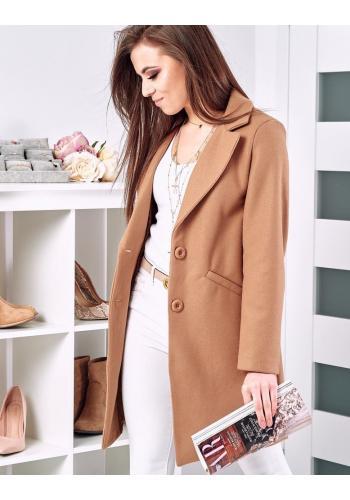 Hnědý klasický kabát na jaro pro dámy