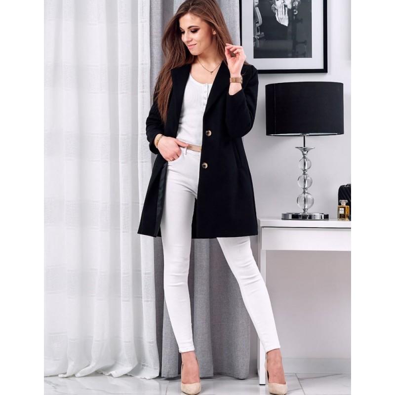 Klasický dámský kabát černé barvy s dvěma knoflíky