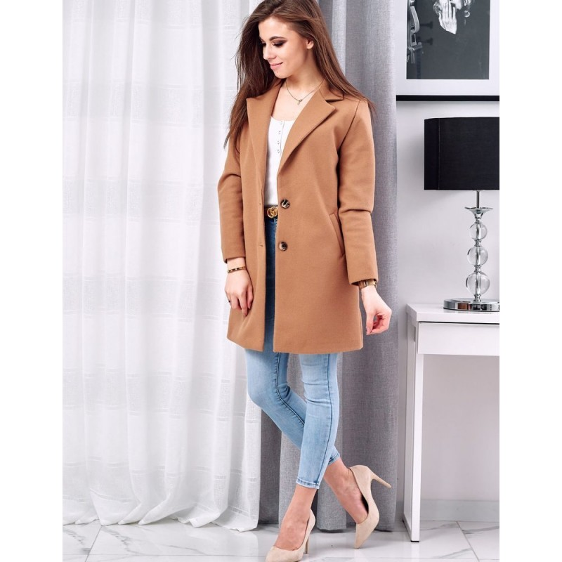 Hnědý klasický kabát se dvěma knoflíky pro dámy