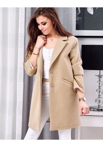 Elegantní dámský kabát béžové barvy s dvěma knoflíky