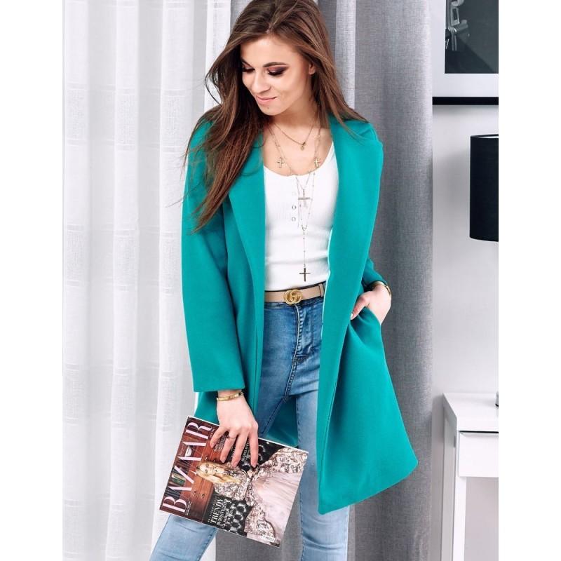 Dámský módní kabát v mořské barvě