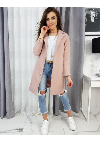 Módní dámský kabát růžové barvy