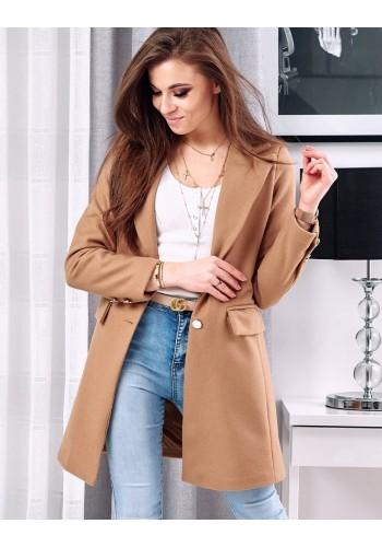 Hnědý elegantní kabát se dvěma knoflíky pro dámy