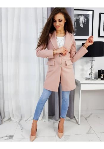 Dámský elegantní kabát se dvěma knoflíky v růžové barvě