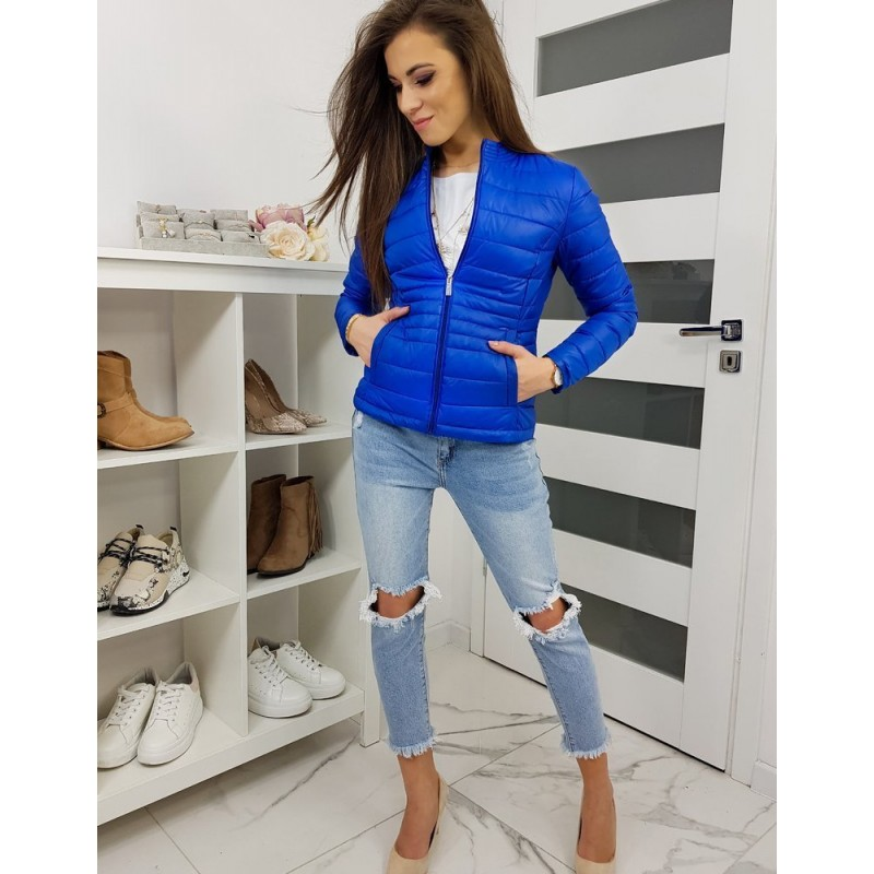 Prošívaná dámská bunda modré barvy bez kapuce