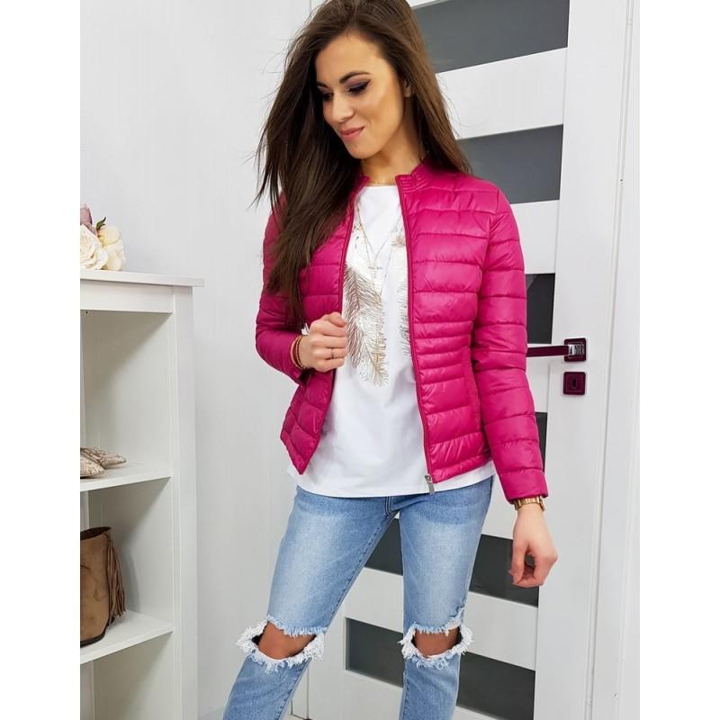 Dámská prošívaná bunda bez kapuce v růžové barvě