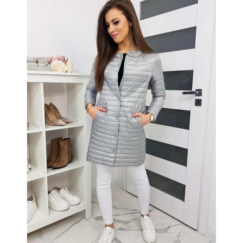 Prošívaná dámská bunda světle šedé barvy bez kapuce
