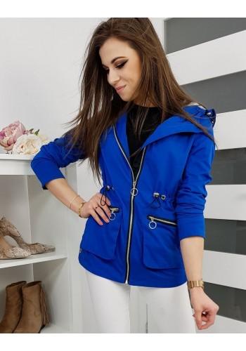 Modrá jarní Parka s kapucí pro dámy