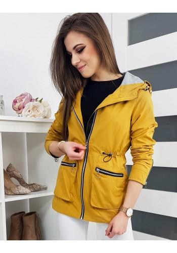 Jarní dámská Parka žluté barvy s kapucí