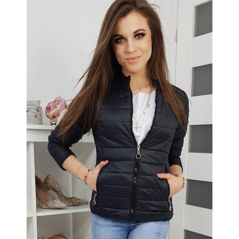 Černá prošívaná bunda na jaro pro dámy