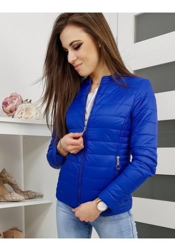 Dámská prošívaná bunda na jaro v modré barvě