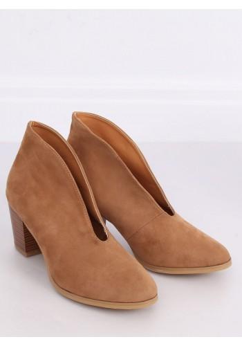 Hnědé přechodné boty na podpatku s výřezem pro dámy
