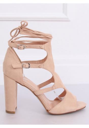 Béžové semišové sandály na podpatku pro dámy