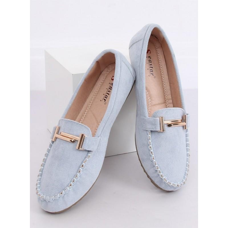 Světle modré semišové mokasíny se zlatou ozdobou pro dámy
