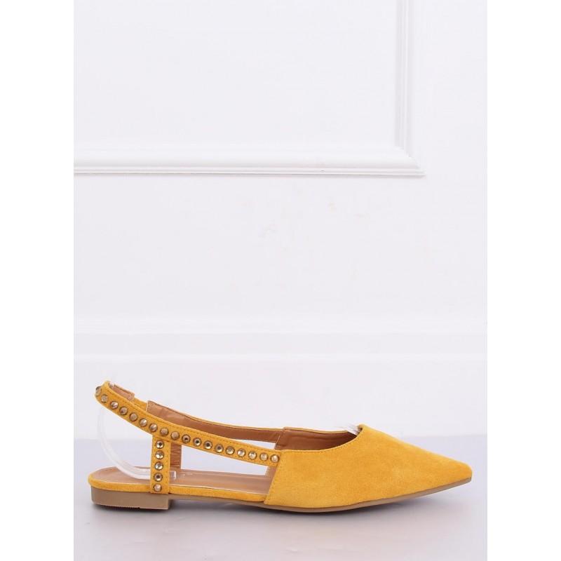 Žluté semišové balerínky s odkrytou patou pro dámy