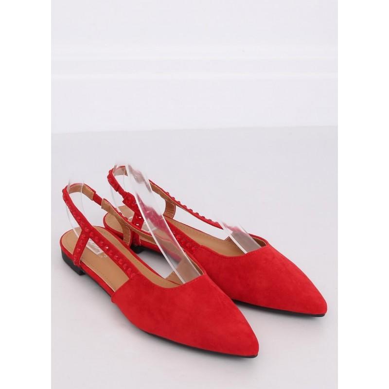 Dámské semišové balerínky s odkrytou patou v červené barvě