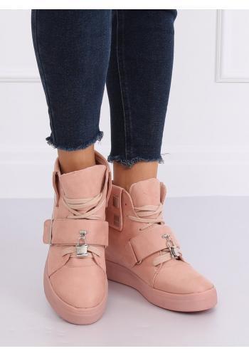 Růžové semišové Sneakersy s vysokou gumovou podrážkou pro dámy