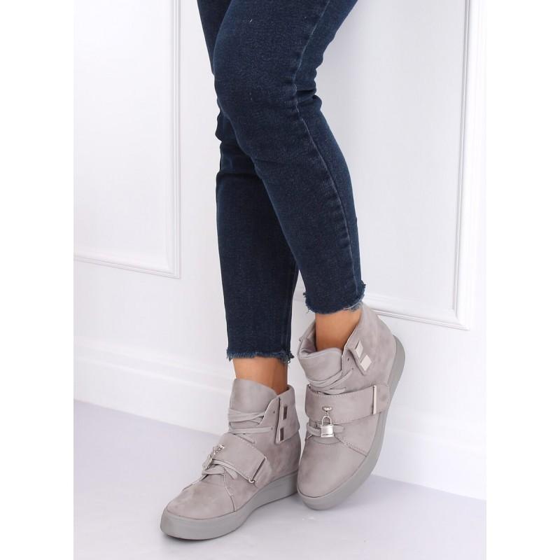 Dámské semišové Sneakersy s vysokou gumovou podrážkou v šedé barvě