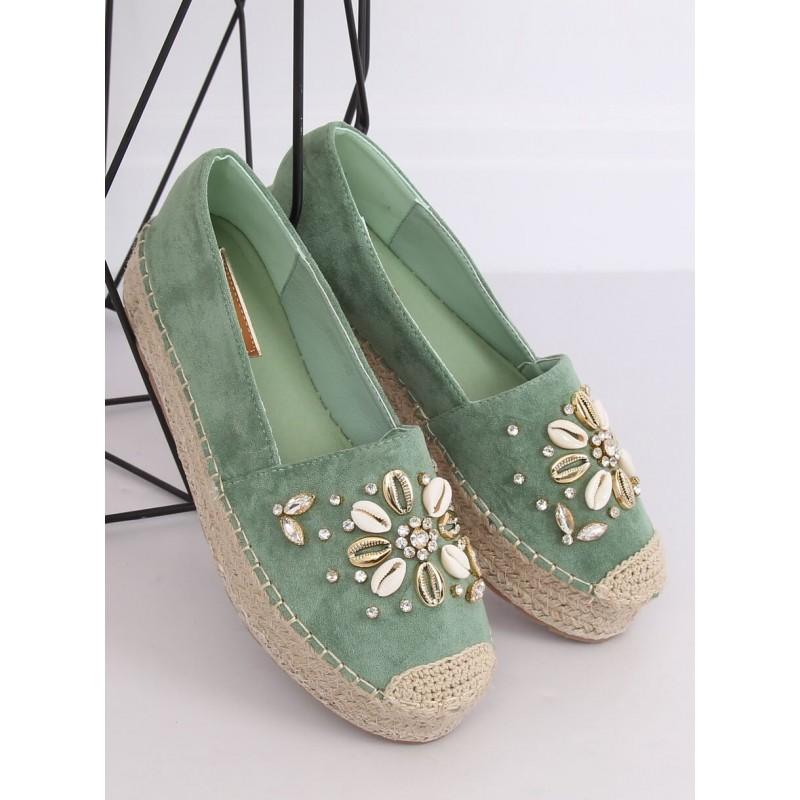 Zelené semišové espadrilky s kameny a mušlemi pro dámy