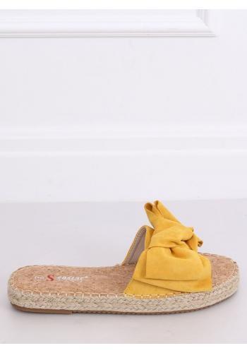 Dámské semišové pantofle s mašlí ve žluté barvě