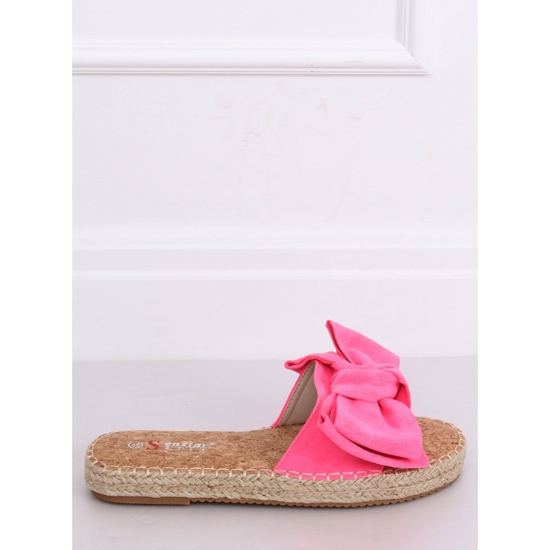Růžové semišové pantofle s mašlí pro dámy