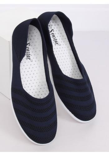 Dámské síťované balerínky s jemným vyvýšením v tmavě modré barvě