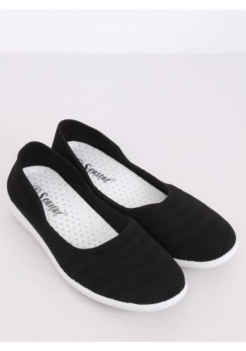 Černé síťované balerínky s jemným vyvýšením pro dámy