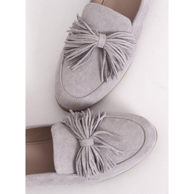 Dámské semišové mokasíny s třásněmi v šedé barvě