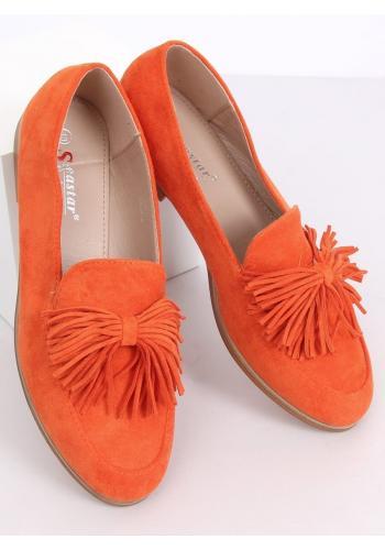 Oranžové semišové mokasíny s třásněmi pro dámy