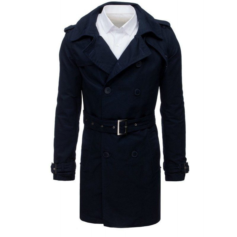 Dvouřadý pánský kabát černé barvy s páskem