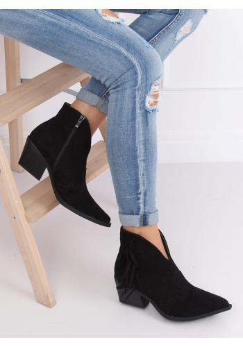 Jarní dámské kovbojky černé barvy na podpatku s třásněmi