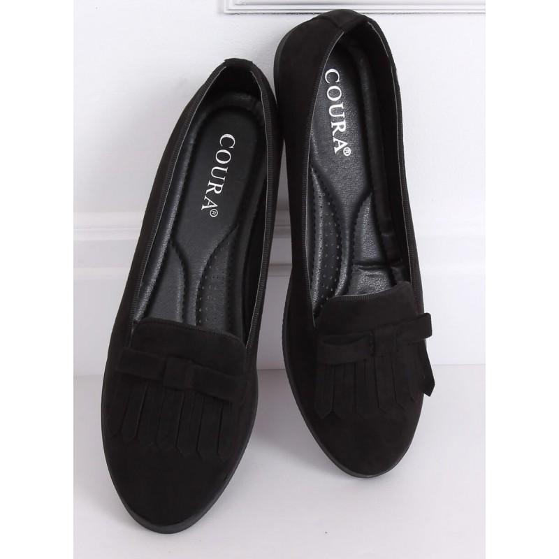 Semišové dámské mokasíny černé barvy s třásněmi a mašlí
