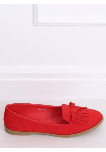 Dámské semišové mokasíny s třásněmi a mašlí v červené barvě